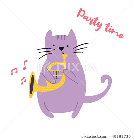 Funny cat playing horn. Vector illustration 49193739