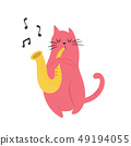 Funny cat playing saxophone. Vector illustration 49194055