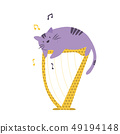 Funny cat playing the harp. Vector illustration 49194148