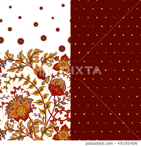Set of two horizontal seamless floral pattern with paisley and fantasy flowers border. Hand drawn 49195406