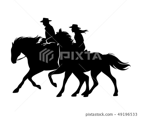 cowboy and cowgirl riding horses black vector 49196533