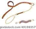 Set of leather, metal chain and textile belts 49199357