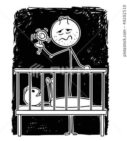 Cartoon of Dead Tired Father Entertaining Baby in Night With Rattle 49202510
