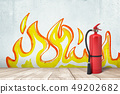3d rendering of a fire extinguisher standing at the wall with the drawing of flames on it. 49202682