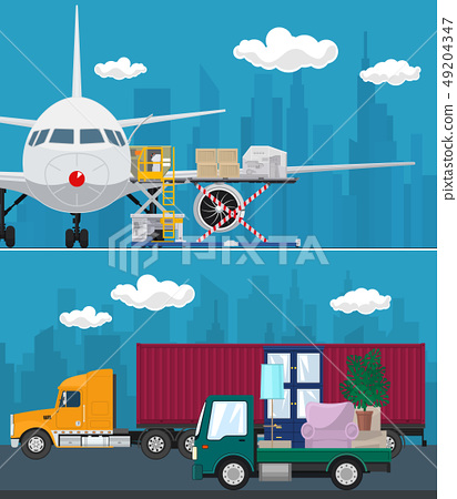 Set of Air Cargo and Transport Services 49204347
