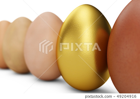 Row of various eggs. In focus a gold egg. Unique egg. Happy easter, 3d illustration 49204916