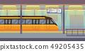 Modern passenger electric train in tunnel underground, subway, metro 49205435