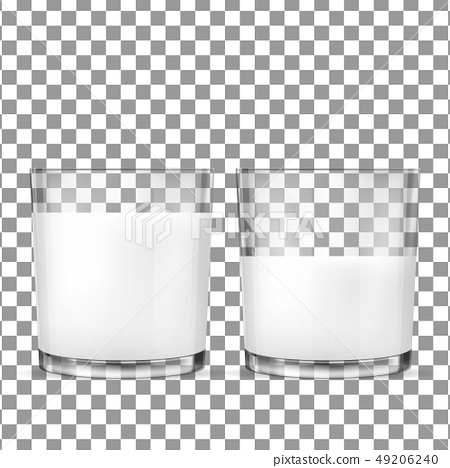 Realistic transparent glasses for milk 49206240