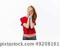 Young cute woman tired and very sleepy isolate over white background. 49208161