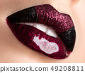 Close up view of beautiful woman lips 49208811