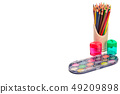 Set of colored pencils and paints for drawing 49209898
