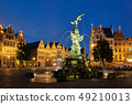 Antwerp Grote Markt with famous Brabo statue and fountain at night, Belgium 49210013