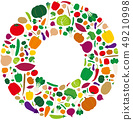 Fresh vegetables wreath illustration 49210998