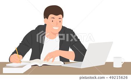 Cartoon people character design student preparing 49215626