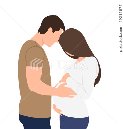 Cartoon people character design pregnant wife and 49215677