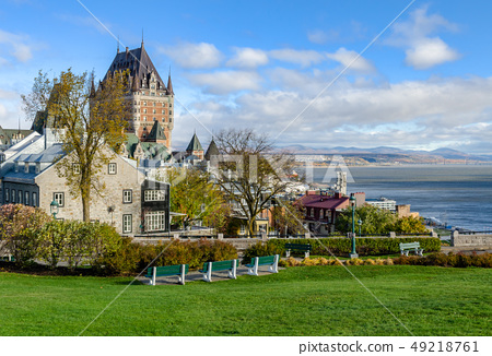 View of Upper Town of Old Quebec City in Canada 49218761