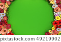 Ring of flowers on a green background. 49219902