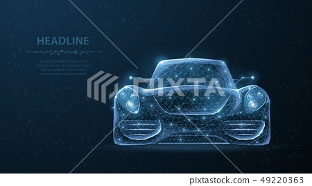 Car. Abstract 3d polygonal wireframe low poly sport car on blue night sky with stars. 49220363