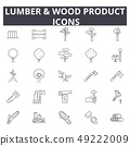 Lumber wood production line icons for web and mobile design. Editable stroke signs. Lumber wood 49222009