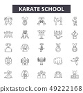 Karate school line icons for web and mobile design. Editable stroke signs. Karate school outline 49222168