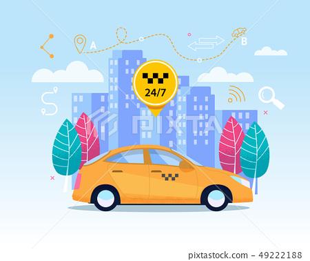 Yellow City Cab Transfer Service. Flat App Banner 49222188
