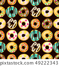 Glazed Donuts seamless pattern Vector. Top View doughnuts 49222343