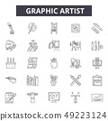 Graphic artist line icons for web and mobile design. Editable stroke signs. Graphic artist outline 49223124
