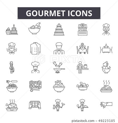 Gourmet line icons for web and mobile design. Editable stroke signs. Gourmet outline concept 49223185