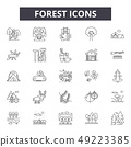 Forest line icons for web and mobile design. Editable stroke signs. Forest outline concept 49223385