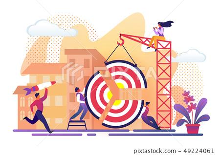 People Assemble Huge Target Pieces Building Crane. 49224061