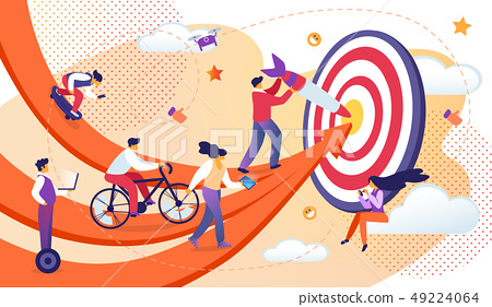 Business People Moving by Arrows to Common Target. 49224064