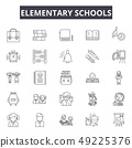 Elementary school line icons for web and mobile design. Editable stroke signs. Elementary school 49225376