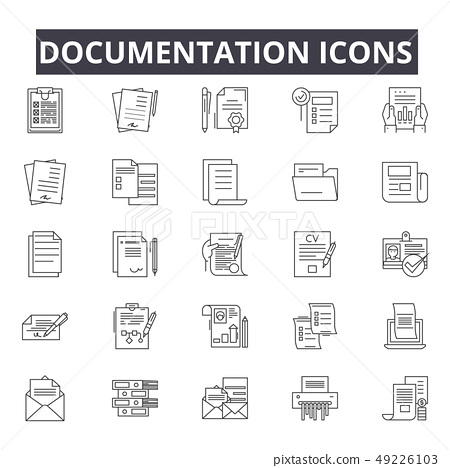 Documentation line icons for web and mobile design. Editable stroke signs. Documentation outline