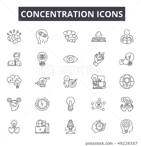Concentration line icons for web and mobile design. Editable stroke signs. Concentration outline 49226387