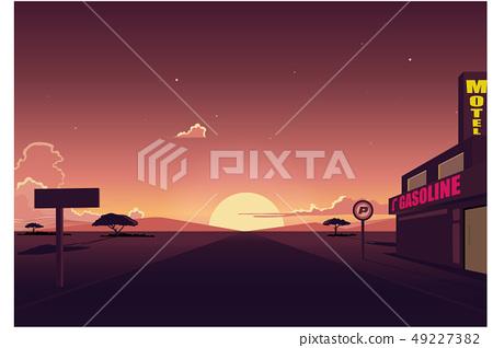Desert Road landscape with Motel ,At sunset 49227382