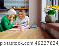 Nice-appealing social employee consulting elderly woman about financial documents. 49227824