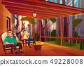 Family relaxing on home veranda cartoon vector 49228008