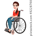 Cheerful girl in wheelchair, woman with disability 49228760