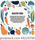 Vegetarian eating card. Vector clipart. 49229796