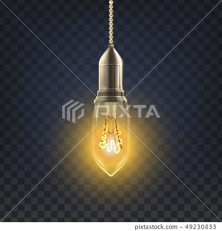 Light Bulb Vector. Abstract Interior Light Bulb. Old Background. 3D Realistic Transparent 49230833