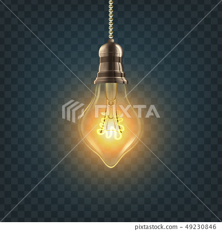 Light Bulb Vector. Steampunk Style Light Bulb. Innovation Element. 3D Realistic Transparent 49230846