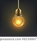 Light Bulb Vector. Retro Loft Light Bulb Symbol. Graphic Decor. 3D Realistic Transparent 49230847