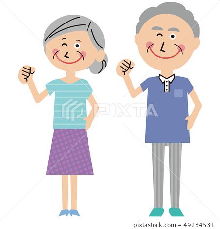 Pop senior couple summer clothes guts pose 49234531