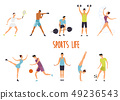 Set of isolated woman and man at sport exercise 49236543