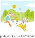 狗和父母在公园里玩 49237042