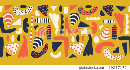 Contemporary Abstract shapes seamless vector border. Pattern of simple elements coral, gold yellow 49237172