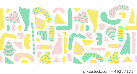 Seamless horizontal border modern abstract shapes vector. Pattern of simple elements green, yellow 49237173