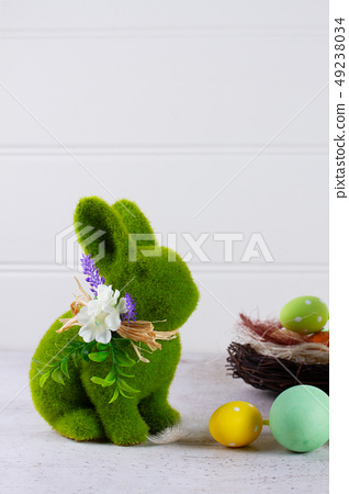 Easter scene with colored eggs 49238034