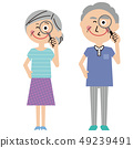 Pop senior couple summer clothes magnifying glass 49239491
