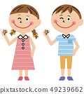 Pop boy and girl summer clothes guts pose 49239662